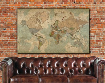 Push pin travel map etsy push pin travel map of world single panel vintage map push pin map gumiabroncs Gallery