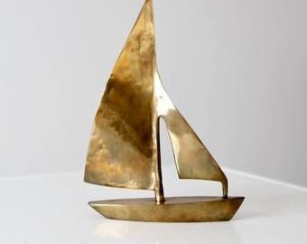 vintage brass sail boat, nautical brass decor