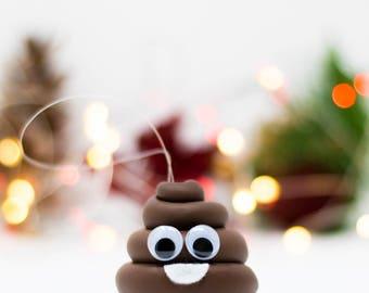 Cute Brown Poop Emoji Ornament - Handmade