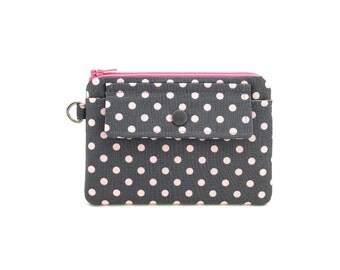 Gray Zipper Pouch - Polka Dot Purse - Keychain Wallet - Small Coin Purse - Change Purse - gift under 15 dollar - Padded Pouch