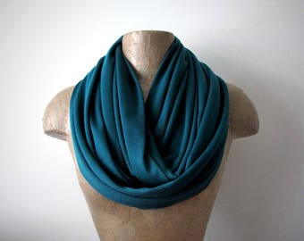 TEAL Infinity Scarf, Teal Blue Eternity Scarf, Medium Weight Loop Scarf, Teal Circle Scarf, Jersey Knit Tube Scarf
