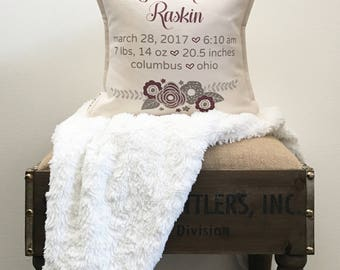 """12"""" Birth Announcement Keepsake Pillow - Baby Stat Cushion - Baby Info Pillow - Cotton Duck Canvas - Button Back Closure - Insert Included"""