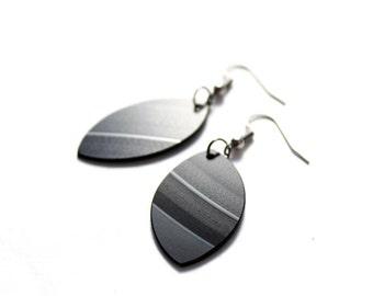 simple black dangle earrings recycled earrings small earrings everyday earrings gift idea for her eco friendly vinyl record earrings