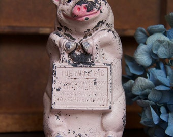 Vintage The Wise Pig THRIFTY Still Bank -- A Piggy Bank!