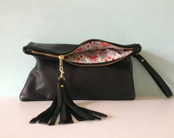 Black leather clutch bag, leather fold over clutch purse, black handbag