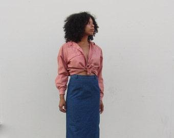 Vintage 90s denim high waist pencil skirt