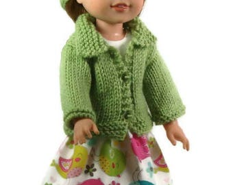 Wellie Wishers Doll Clothes: Handmade Sweet Pea 4 Piece Outfit Sweater, Hat, Dress. Bracelet 14.5 in doll, Christmas in July, Free Shipping