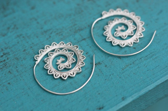 TRIBAL TWIST EARRINGS - Statement Earrings- Tribal Twist Earrings- Silver Earrings- Sacred Geometry- Jewelry- Mandala- Stocking Filler