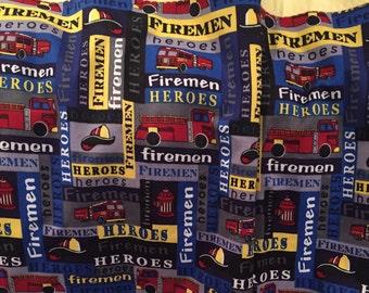 Receiving Blanket, Baby Blanket, Firemen, Heroes, Reversible Blanket, Flannel, Fire Trucks