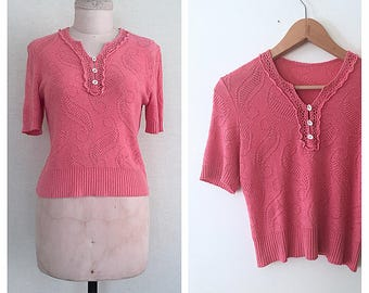 Camellia blouse | 1950s sweater top | Rare original 50s knitted blouse | s - m