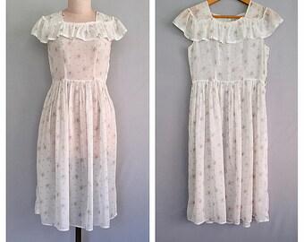 Petite Fleurs dress | 1930s cotton voile dress | vintage 30s floral dress | s - m