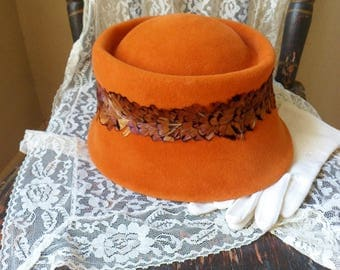 Orange Riviera Hat with Band of Feathers, Ladys Velour Hat, Womens Designer Hat from Italy