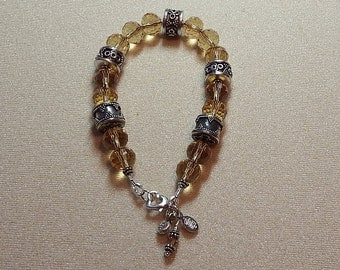 Golden Crystal Bracelet with Heart Clasp