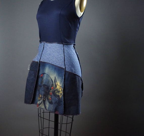 Up-cycled Denim Dress - Skull Denim Dress Vest - Denim Vest - One of a Kind Clothing - Up cycle Clothing