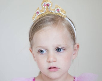 Princess Aurora Crown- sleeping beauty crystal rhinestone and beaded crown headband