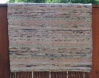 """Hand Woven Rag Rug - Little Scrappy Salt & Pepper Cotton Runner 28"""" x 30"""""""