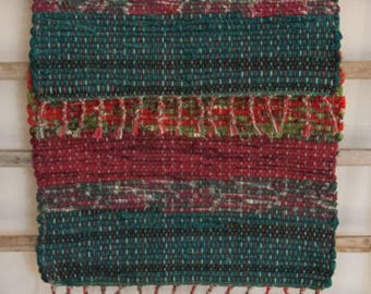 """Hand Woven Table Mat - Little Scrappy Christmas 14"""" x 22"""""""