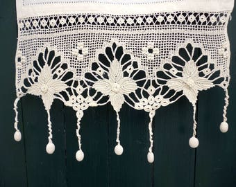 Handmade curtain with atrante and lace - Greek handiwork - Traditional design- 2430-2428-2134
