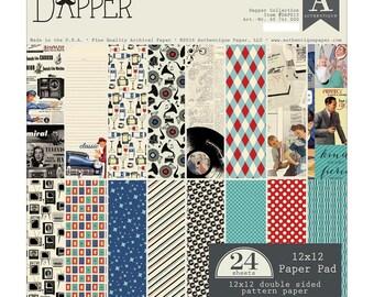 FIFTIES CARD STOCK, Authentique Dapper, Men Card Stock, Male Card Stock, 1950s Card Stock, Fifties Paper, Fifties Men Paper, 1950s Paper
