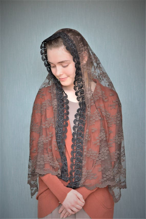 Brown Catholic Chapel Veil | Catholic Veil Catholic Mantilla Church Veil for Mass Veil Brown Veil Robin Nest Lane Veils Brown Scarf Black