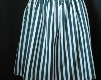 Bird peacock blue and ecru striped silk skirt