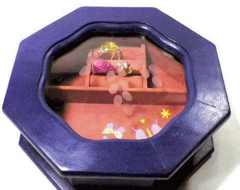 Vintage Purple Jewelry Box with Etched Glass Top