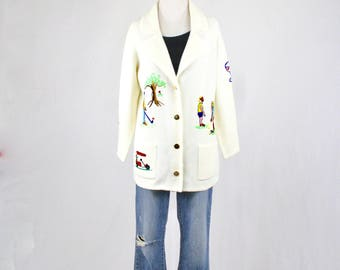 1960s Golf Embroidered Acrylic Cardigan Sweater by Andreno Argenti