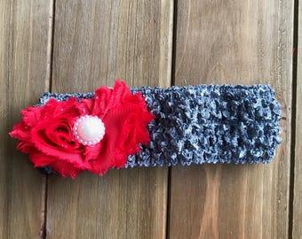 Gray Crochet Headband with Red Shabby Flowers