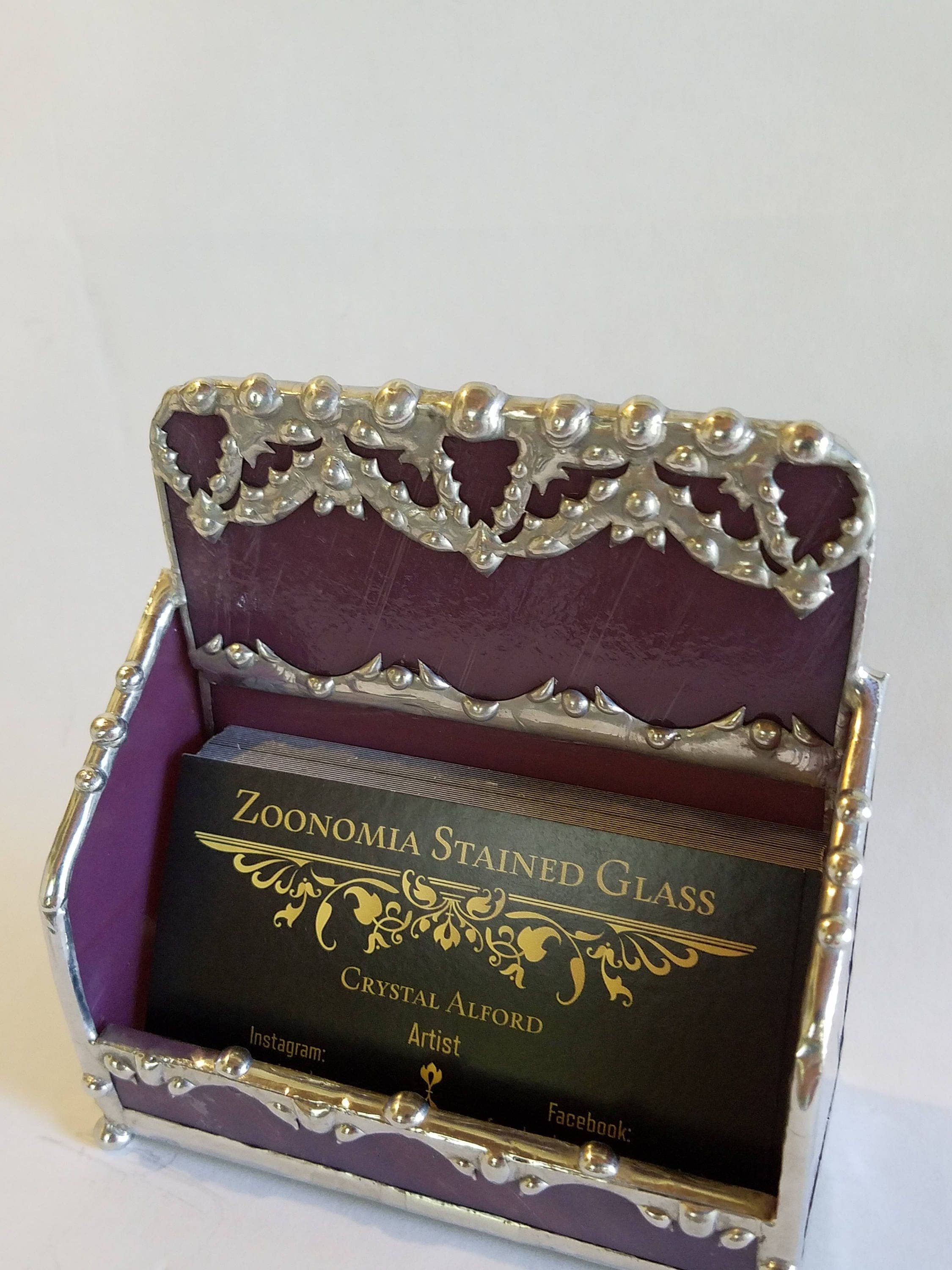 Business Card Holder with Handmade Bat Filigree / Purple and Silver ...