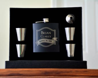 Personalized Groomsmen Gift Set of 5 Flasks, Groomsman Gift Flask, Father of the Bride Engraved Flask, Usher Gift Custom Flask Wedding Favor