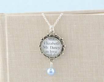 Jane Austen - Pride and Prejudice Pearl Drop Necklace - Pride and Prejudice Necklace - Jane Austen Jewelry - Book Lover Gifts