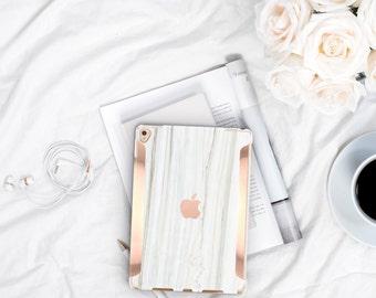 "Bianco Striato Marble iPad Case and Rose Gold Detailing iPad Pro 9.7 / iPad Pro 10.5"" Smart Keyboard compatible Hard Case - Platinum Edition"