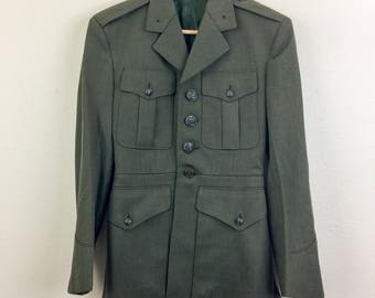 Vintage 60s USMC Army Navy Green Wool MILITARY Jacket Coat Mens S 36