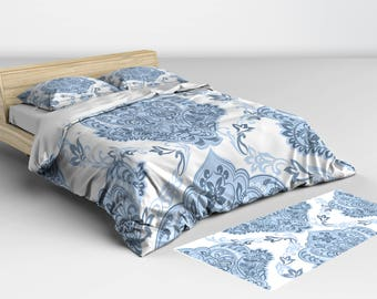 Comforters, and, Duvet Cover, Beautiful Blue and White Damask Pattern Available in Twin Full Queen and King Sizes