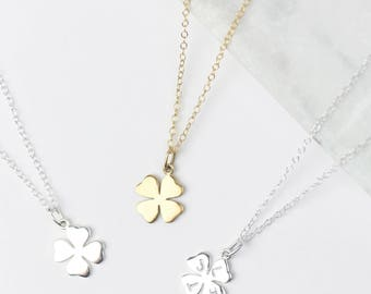 Sterling Silver Four Leaf Clover Necklace • Clover Pendant • Good Luck Gift • Good Luck Necklace • Leaving Gift • Shamrock Necklace