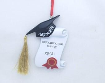 Congratulations Graduate Mortarboard and Scroll Christmas Ornament / Graduation Ornament / High School / Graduate Program