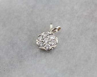 Sparkling Confection, Round Diamond Cluster Pendant, Layering Pendant NCUNF0-R