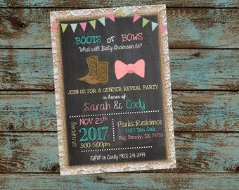 Gender Reveal Invitation, Boots or Bows Gender Reveal Invitation, Burlap and Lace, Gender Neutral Baby Reveal