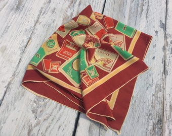 Vintage Square Scarf . Vintage Novelty Scarf . Packs of French Cigarettes . Advertising Scarf .
