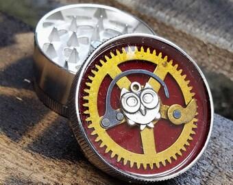 Steampunk Herb Grinder - Steampunk Timeless Owl -metal herb grinder