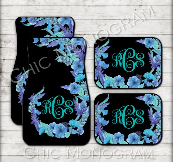 Floral Monogrammed Car Mats Blue Flowers Monogram Carmats Car Floor Mats Flowers Custom Floor Mats For Her Car Decor Cute Car Accessories