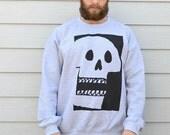 Skull Sweater Premium Skull Print Sweatshirt In SML And XL Black or Navy Print