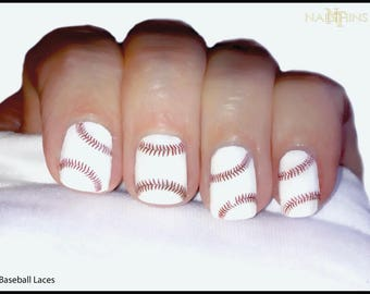Baseball Nail Decal laces Base Ball Nail Art NAILTHINS