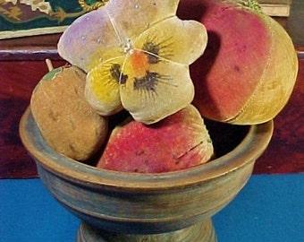 Antique Velvet Theorem Flower Pin Cushion, Pansy, Painted Velvet Fruit