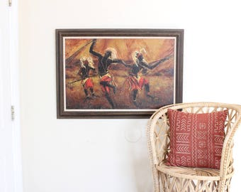 Vintage Painting African Tribal Artwork Signed Original Framed Painting 1970's Boho Home Decor