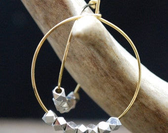 Earrings - Hoop Earrings - Sterling Silver and Gold Hoop Earrings