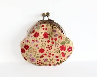 Floral Coin Purse, Kiss Lock Change Purse, Handmade Gift for Her, Christmas Gift