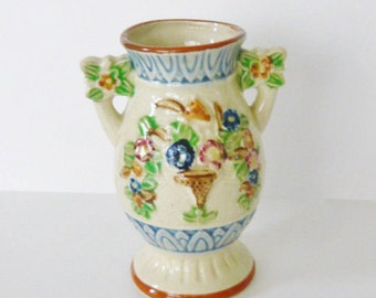 Vintage Japanese Majolica Small Vase