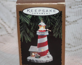 Hallmark Keepsake Magic Ornament Candy Cane Lookout Blinking Light Vintage Dated 1994