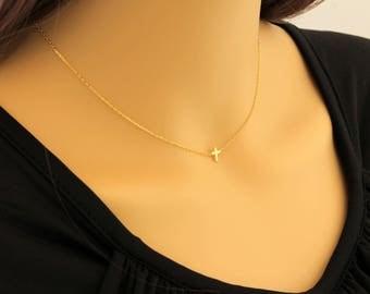 Dainty Cross Necklace, New Style Cross, Cross Necklace, Dainty Necklace, Gold Cross Necklace, Small Cross Necklace, Minimalist Tiny Necklace